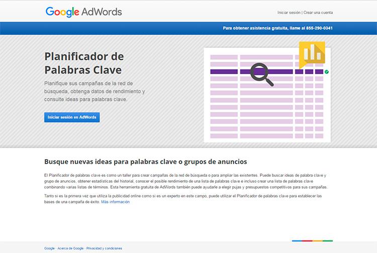 Sesión de Marketing Digital; Planificador Palabras Google Adwords